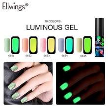 Ellwings 18 couleurs Gel lumineux Fluorescent vernis à ongles lueur dans la  nuit sombre Gel UV paillettes vernis à ongles longue.