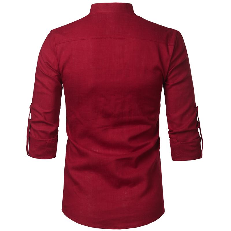 Tunique col Mao rouge, manches longues, avec poche, vue arrière