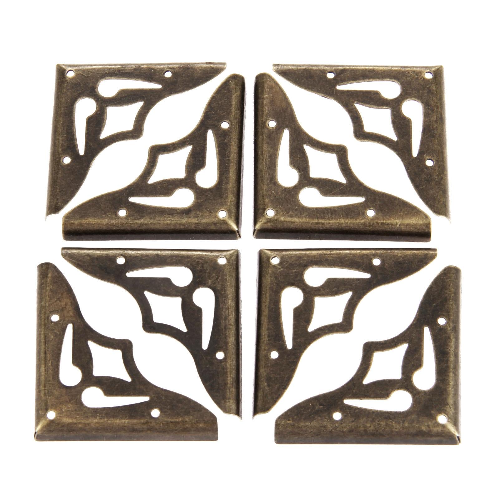 Купить с кэшбэком DRELD 20Pcs Furniture Metal Craft  Antique Bronze Jewelry Box Corner Foot Wooden Case Corner Protector Decorative Corner 35mm