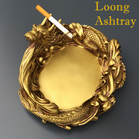 Creative Design Unique Portable Living Room Car Interior Dragon Loong Ashtray As Gift Home Decor Brass