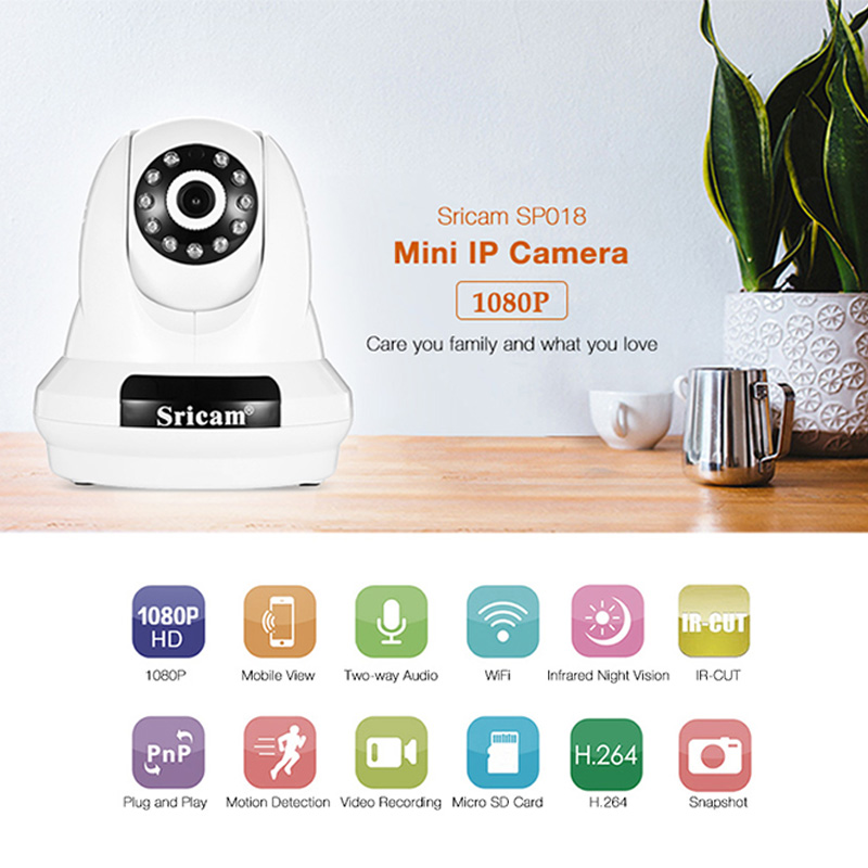 Sricam SP018 HD 1080P Wireless WiFi IP Indoor Security Camera Night Vision / P2P / Motion Detection / Pan and Tilt new surveillance ip camera pan tilt p2p ir night vision motion detection wireless wifi indoor home security support 64g tf card