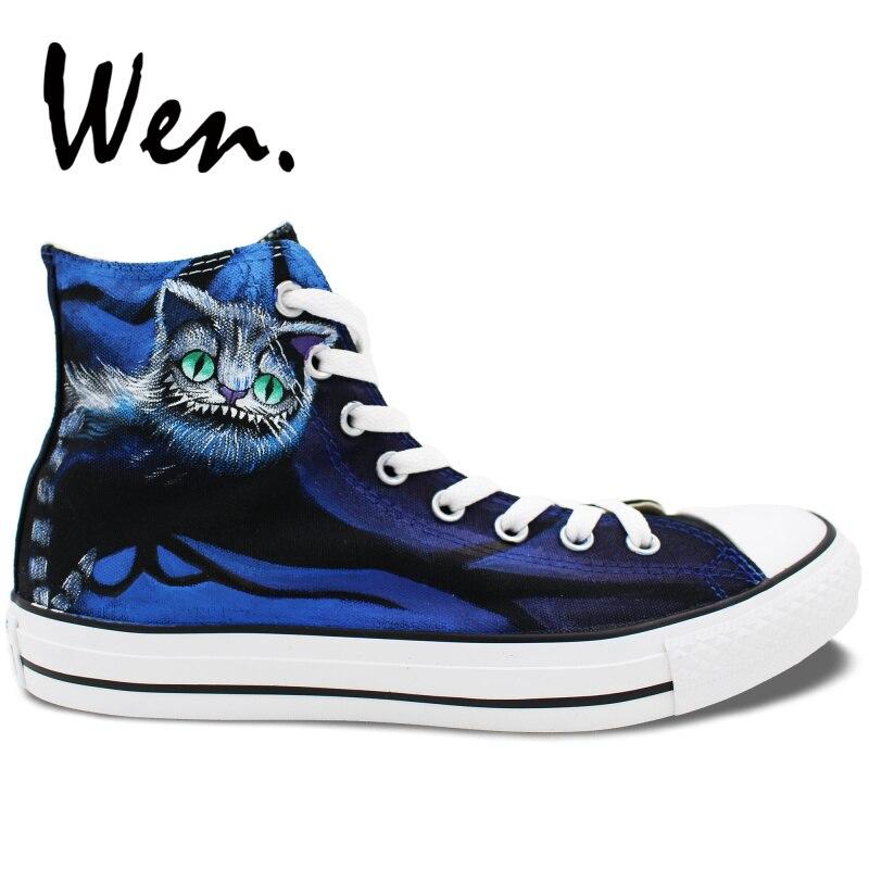 Wen Men Skateboarding Shoes Design Custom Hand Painted Cheshire Cat Canvas  Sneakers High Top Women Platform Lace up Plimsolls d57375638837