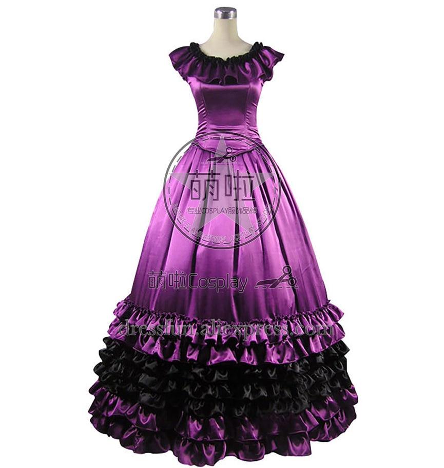 Victorienne Lolita douce Belle Violet gothique Lolita robe avec col circulaire et volants décoré élégance pour la fête d'halloween