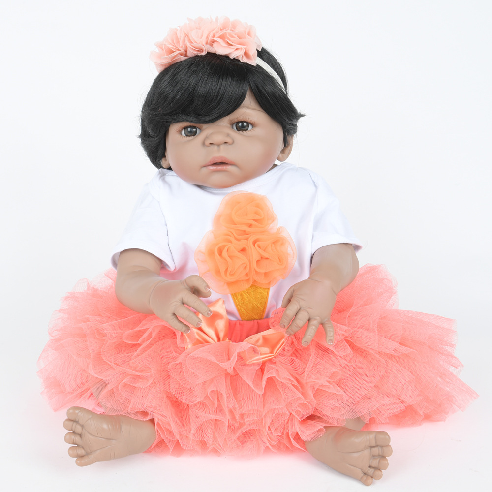 55cm Soft Full Silicone Reborn Baby Newborn Lifelike Princess Girl Doll for Kids Toy Christmas Birthday New Year Gift недорого