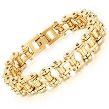 Wholesale 2016 new men's titanium steel jewelry direct selling motorcycle chain bracelet Rock style