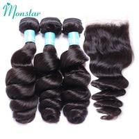 Monstar Peruvian Hair Bundles with Closure 12 30 Inch Unprocessed Human Hair Weave Loose Wave Loose Curl Bundles with Closure