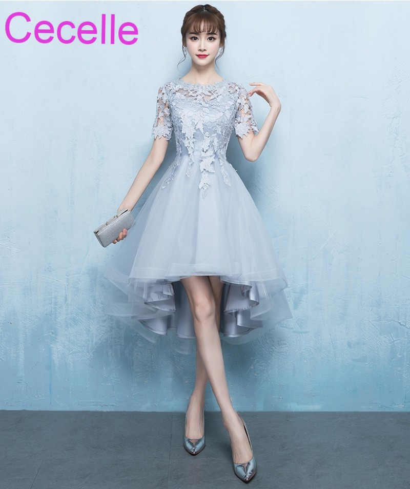 beauty get online shop US $67.85 29% OFF|2019 Latest Silver Gray High Low Short Cocktail Dresses  With Short Sleeves Lace Tulle Girls Informal Short Prom Party Dress-in ...