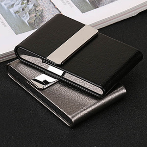 Simple Cigarette Case 1 PC Cigar Storage Box Stainless Steel Multifunction Card Cases PU Tobacco Holder Smoking Accessories(China)
