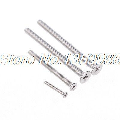 200Pcs M3 Serial GB Stainless Steel 304 Flat Head Drive Phillips Screw M3X16