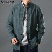 Chinois style Rétro mâle veste blazer Lin coton casual manteau à manches longues Olive vert hommes survêtement extérieur Loisirs vêtements