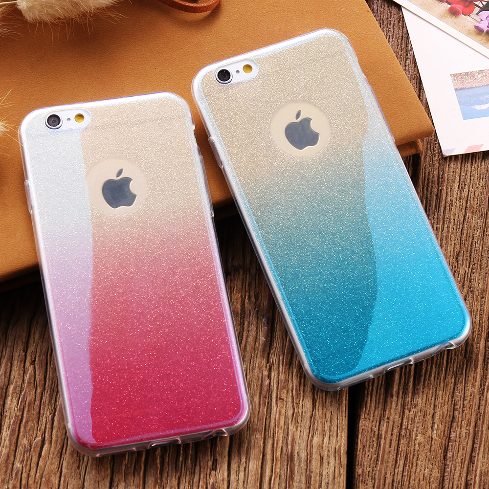 Fashion Blue Ray Light Gradient Color Bling Powder Skin Clear TPU Case For Apple  iPhone 5 56241453d8