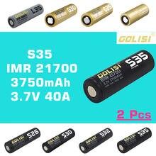 GOLISI S35 IMR 3.7V 21700 3750mah, 2 pièces, batterie rechargeable, à décharge élevée, 30a MAX 40a, pour VAPE, lampe torche, jouet