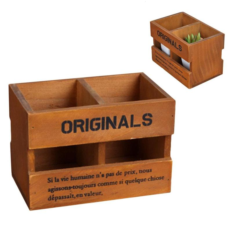 Wood Storage Box Wooden Sundries Jewelry Cosmetic Organizer Home Office Desktop Remote Control Stationery Pen Holder Container