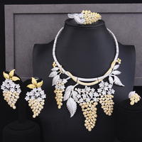 SisCathy Luxury Grape Design Bridal Wedding Pendant Necklace Bangle Earrings Ring Jewelry Sets Ladies Lover Anniversary Gifts