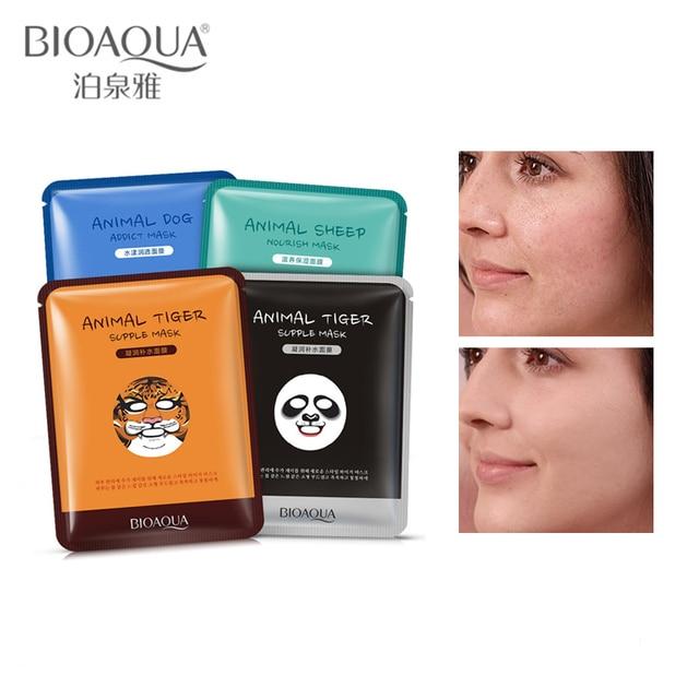 BIOAQUA cristalina del 1 piezas de cuidado de la piel ovejas/Cordero/de cabra/Panda/perro/Tigre máscara Facial hidratante Animal lindo rostro máscaras