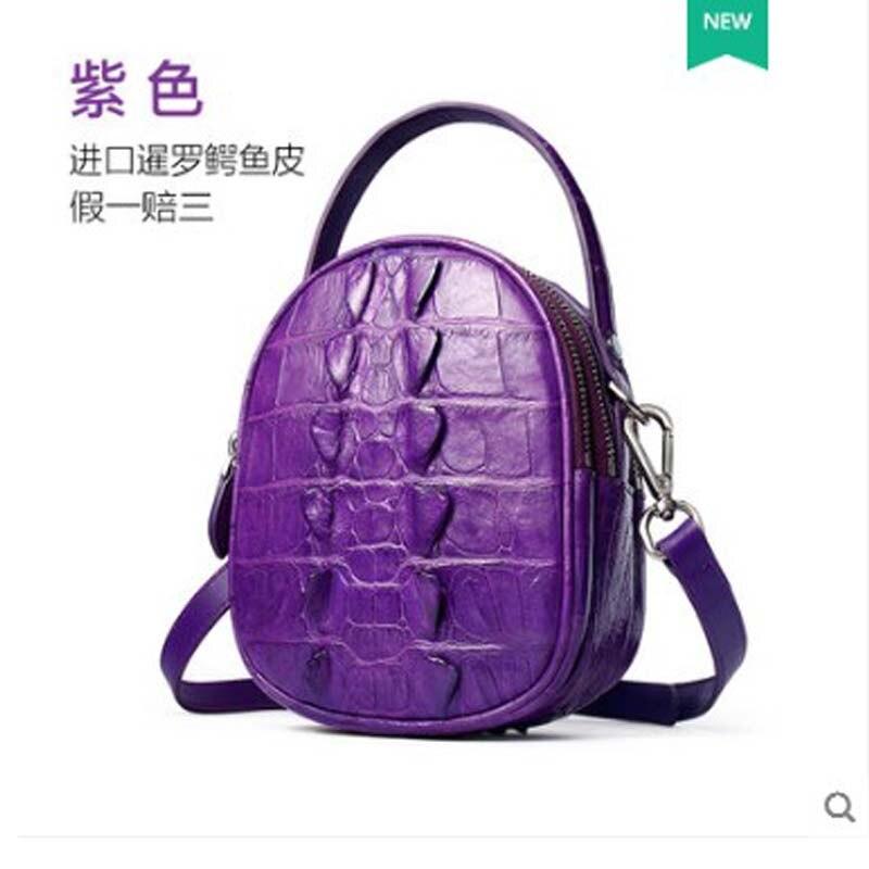 Bolso de mujer de cuero de cocodrilo yuanyu de cuero genuino importado de Tailandia bolso de cocodrilo solo bolso de hombro pequeño bolso redondo