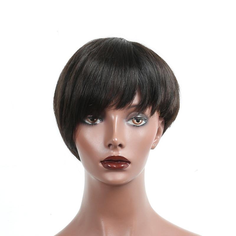 Short Human Hair Bob Wig For Women Brazilian Straight Human Hair Wigs Natural Hair 6 Inc ...