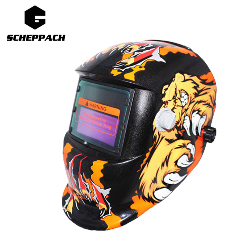 Scheppach Tiger Solar Auto Darkening MIG MMA Electric Welding Mask/Helmet/welder Cap/Welding Lens for Welding Machine fire flames auto darkening solar powered welder stepless adjust mask skull lens for welding helmet tools machine free shipping