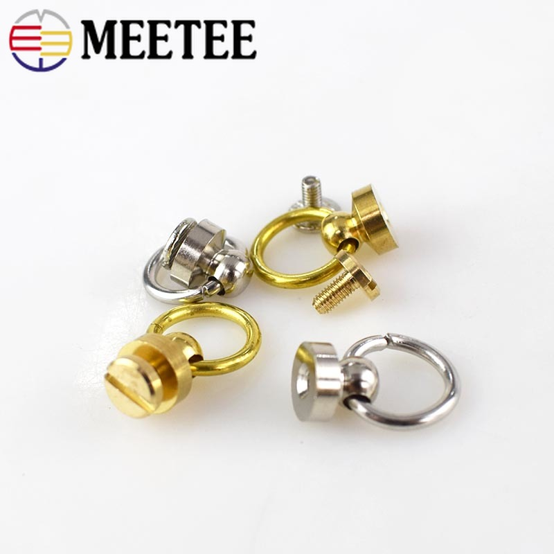 10pcs Meetee Pure Copper Brass Belt Ring Nail Buckles Metal Rivet for Bag Purses Fastner Studs Screw Buttons DIY Leather Craft in Buckles Hooks from Home Garden