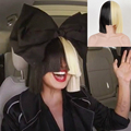 New High Quality Women's Sia Wig Medium Half Black and Half Blonde Cosplay Party Fake Hair.Synthetic Hair Wig Free Shipping