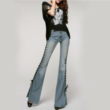 3074254c31 Retalhos Do Vintage Perna Larga Mulheres Incendiar Calça Jeans Rasgado  Cintura Alta Flared Jeans Butt Lift