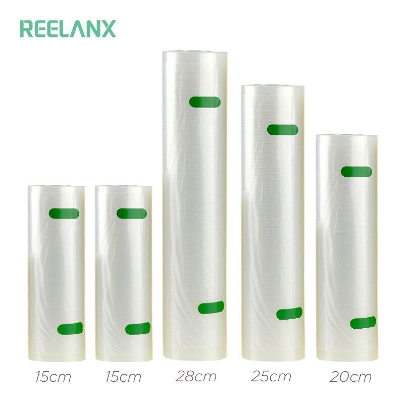 REELANX Vacuum Sealer Borse 5 Rolls/Lotto 15 cm 15 cm 20 cm 25 cm 28 cm * 500 cm Cibo Borse contenitore Da Cucina Fresca di Imballaggio Per Alimenti