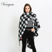 Voneyesa 2017 Plaid Scarf Female Winter Cashmere Poncho Cape Winter Warm Knitted Pashmina Extra large Scarf Ladies poncho shawls