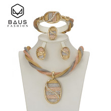 BAUS Bridal Gift Turkey Nigerian Wedding African Beads Jewelry Set Fashion ethiopian Dubai Gold Color Jewelry Set Costume Design(China)