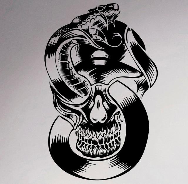 Skull and snake wall decal skeleton vinyl sticker gothic creative art decor home interior room design