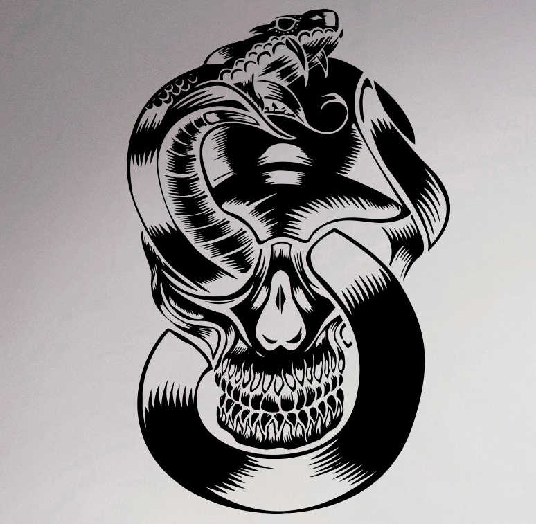 Removable and Reusable Wall Fabric Snake Skull Wall Decal Vinyl Decal SkullUScolor026ET