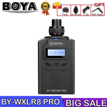BOYA BY-WXLR8 Pro Microphone PLL Synthesized Control Oscillator MIC 48-Channel Plug-on Transmitter LCD Display XLR Connection boya by wxlr8 plug on xlr audio transmitter with lcd display uhf wireless for by wm8 by wm6 wireless lavalier microphone system