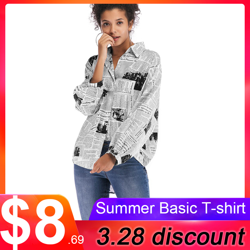 VOLOCEAN Girls Shirt Shirts 2019 Autumn Newspaper Print Blusas Chiffon Girls's Workplace Blouses Winter Tops Feminine Clothes Blouses & Shirts, Low cost Blouses & Shirts, VOLOCEAN Girls Shirt Shirts...