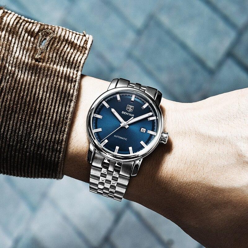 New Fashion Men 39 s Watches Top Luxury Brand BENYAR Machinery Mens Wristwatches Waterproof Sport Clock Watch Men Relogio Masculino in Mechanical Watches from Watches