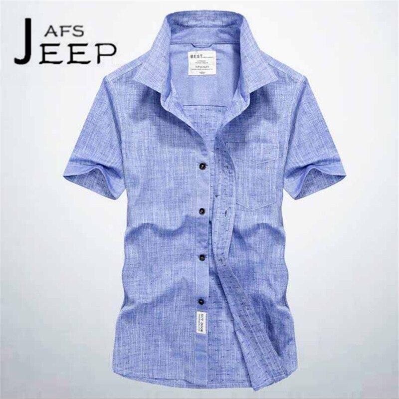 JI PU Gray/blue/white Mans summer Ventilate Leisure short sleeve shirt,oxford fabric style mans Brand Shirt Short Sleeve