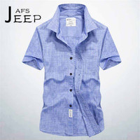 AFS JEEP Gray Blue White Man S Summer Ventilate Leisure Short Sleeve Shirt Oxford Fabric Style