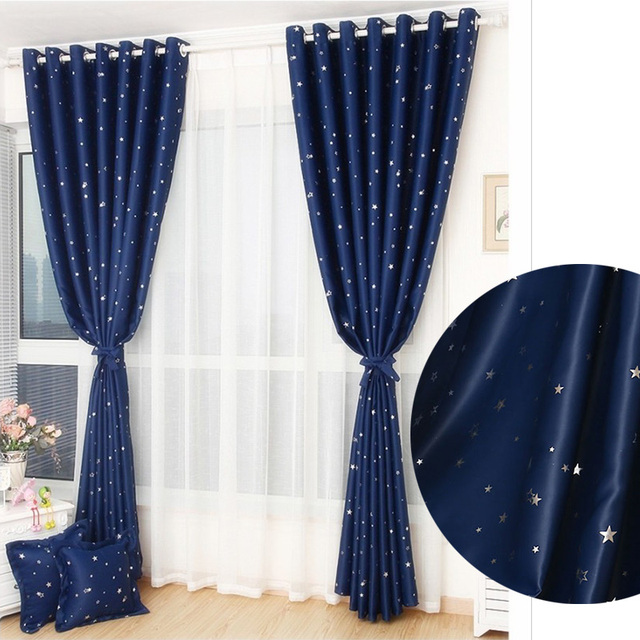 1Pc Star Blackout Curtains For Bedroom Living Room Curtain Children La Cortina Del Apagon