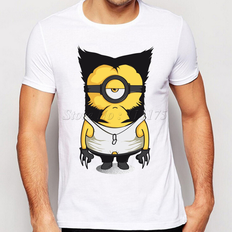 2016 New Arrivals Funny Wolve Minions Design T shirt Hipster Tops customize Printed Short Sleeve Tees