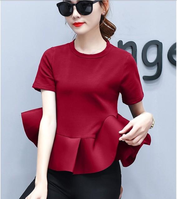 c0a8675d36fea1 new arrival girls fashion ruffle tops women's casual soft quality design  red white ruffle top black school girls top shirt #L313
