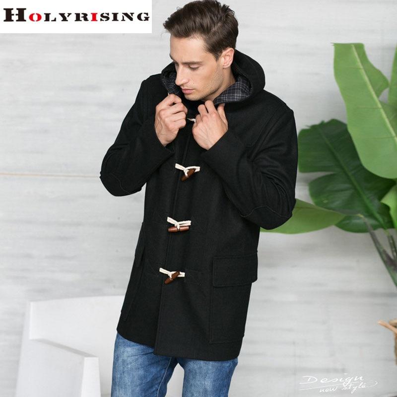 New 2017 Classic Autumn Winter Fashion Casual Men Wool Jackets Warm Coats Male Slim Overcoat Men Hooded Coat Black Navy M-3XL