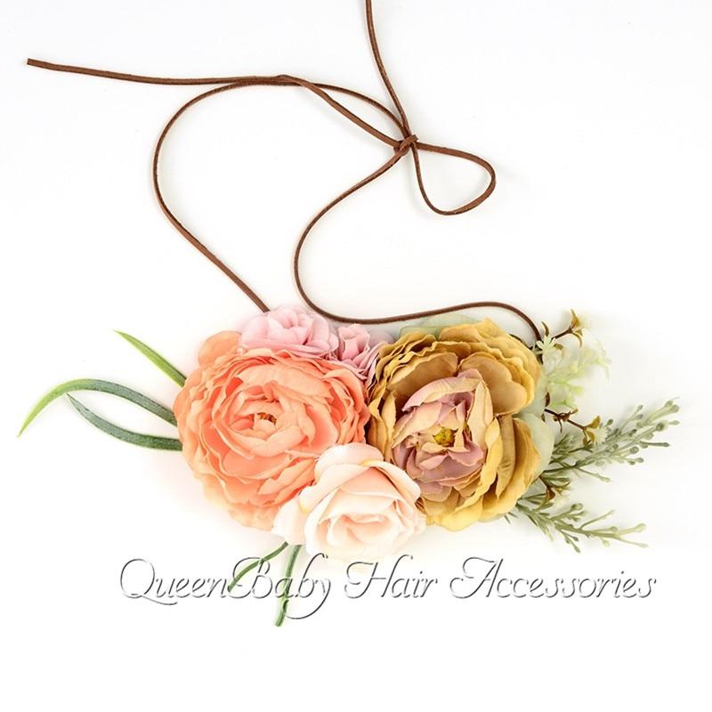 3 Colors Tieback Flower Crown Headband Linen Rope Flower Crown Headband Photo Prop Baby Girl Hair Ac