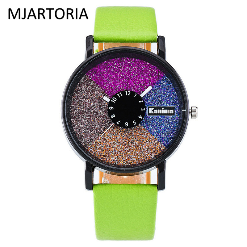 mjartoria-colorful-disc-pu-leather-student-watch-leather-ladies-watch-women-dress-clock-calendar-watch-for-women-dropshipping