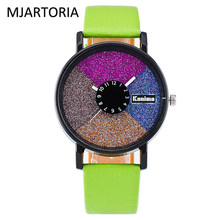 MJARTORIA красочный диск искусственная кожа студент смотреть кожаные женские часы Женское платье часы Календарь Часы для Для женщин дропшиппинг