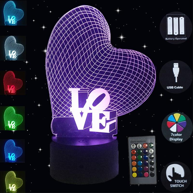 3D LOVE illusion Visual Night Light Change LED Desk Table Lamp Bedroom Decor