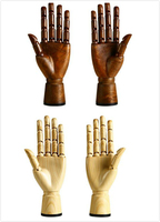 1pcs High Quality Right Left Hand Mannequins Male Adjustable Wood Brown Color Finger Model Show Glasses