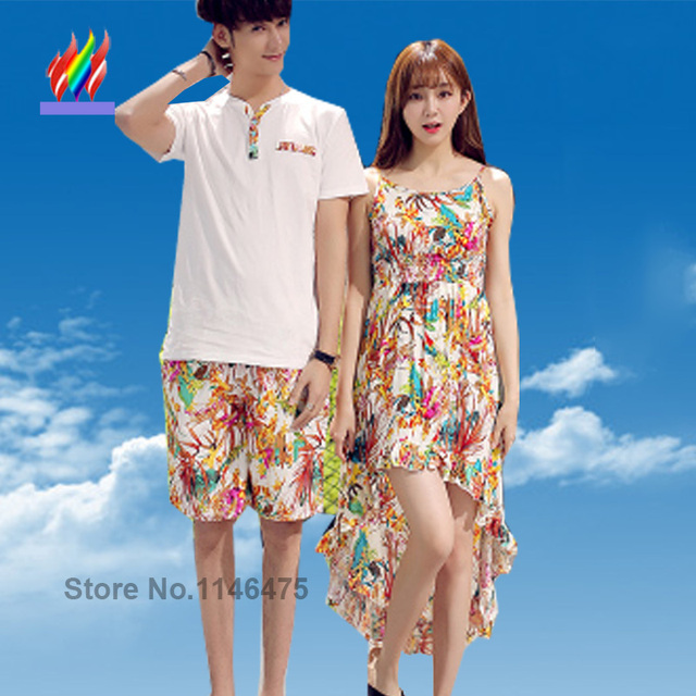 Summer Bohemian Style Honeymoon Holiday Beach Wear Matching Couple Clothes Lovers Cute Floral Print Strapless Long