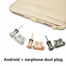Micro Usb Plug + Earphone  Phone Accessories 3.5 Android Mobile Dust Metal plugs SIM Needle