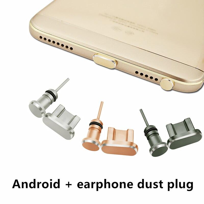 Micro Usb Plug + Earphone Plug Phone Accessories Plug 3.5 Android Mobile Phone Accessories Dust Metal plugs SIM Needle