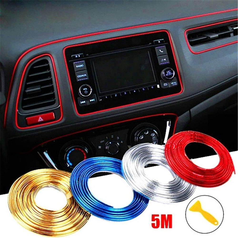 Car Interior Moulding Trim,5M Flexible Trim For DIY Automobile Car Interior Exterior Moulding Trim Decorative Line Strip