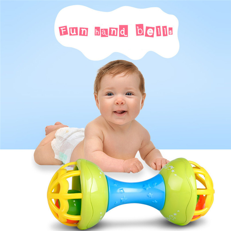 Baby Rattles Random Color Baby Bell Toy Hand Shaking Rattle Toy Todder Early Educational Teether Dumbbell Toy wholesale JE07