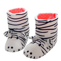 Winter kids Shoes Boys Girls Slippers Cartoon zebra Home Shoes Soft Comfortable Warm Parent-child Home Slippers Floor home boots
